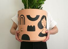 Ink drawings, custom portraits, and paper dolls by artist and illustrator Jordan Grace Owens. Painted Plant Pots, Painted Flower Pots, Ceramic Pots, Ceramic Decor, Ceramic Cafe, Polymer Clay Crafts, Diy Clay, Fleurs Diy, Pottery Painting Designs