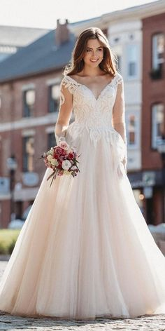 36 Gorgeous A-Line Wedding Dresses Elegant and romantic a line wedding dresses flattering for all brides. These dresses are timeless and stylish also have many settings. Simple Wedding Gowns, A Line Bridal Gowns, Elegant Wedding Dress, Wedding Bridesmaid Dresses, Bridal Dresses, Flower Girl Dresses, Wedding Wear, Wedding Shoes, Belle Silhouette
