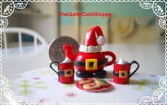 :: Crafty :: Clay ::☃ Christmas ☃:: Santa Teapot Set by TheQuirkyCurioShoppe