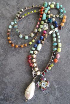 Bunte häkeln Wrap Halskette Böhmische Voyager von slashKnots