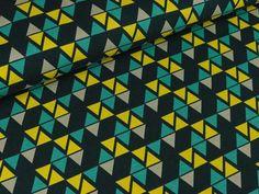 Swafing Organic Jersey Dreiecke ocker auf Dunkelblau   Das hüpfende Komma