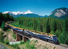 Rocky Mountaineer, Canada The Rocky Mountaineer takes train travel to new heights. On board, passengers can enjoy luxurious amenities like gourmet meals and climate-controlled two-story coaches with domed windows that provide panoramic views of snow-capped mountain ranges, alpine forests and clear rivers.