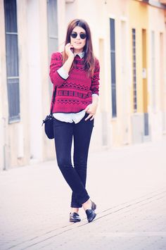 button-up under aztec sweater + casual trousers + loafers + ray bans