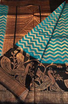 Blue Handloom Banarasi Dupion Silk Saree