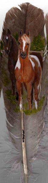 Horses  Feather painting on eagle or turkey feathers is sooo cool!!