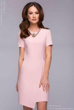 Платье розовое длины мини с карманами и имитацией запаха , розовый в интернет магазине Платья для самых красивых 1001dress.Ru