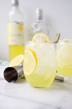 Limoncello Vodka Cooler - The Sugar Coated Cottage - - Limoncello Vodka Cooler. Sweet Limoncello, a hit of vodka and lots of ice make this the perfect summer cooler for those hot summer days and nights. Party Drinks, Fun Drinks, Healthy Drinks, Alcoholic Drinks, Beverages, Nutrition Drinks, Healthy Food, Healthy Recipes, Refreshing Drinks