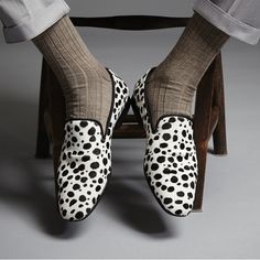 Luxury Mens Slippers Loafers - DALMATIAN PRINT ASCOT