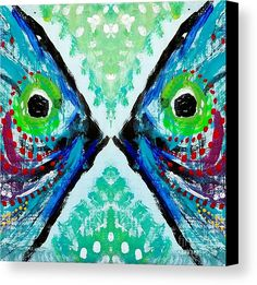 """Colorful Kissing Fish"" from the art studio of Scott D Van Osdol available at fineartsamerica.com"