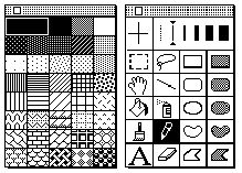 MacPaint toll palettes, by Susan Kare, Graph Design, Ux Design, Icon Design, Design Elements, Vaporwave, Memphis Pattern, Pixel Pattern, Software, Retro Images