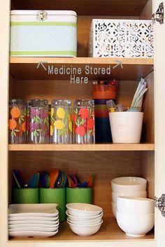 medicine cabinet organization... I like the hidden meds- good for kids.