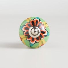 One of my favorite discoveries at WorldMarket.com: Multicolored Floral Ceramic Knobs, Set of 2