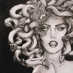 Medusa is a female monster from Greek Mythology. Her beauty not only led to her own demise, but also the endless demise of others. She was so indulgent in her own vanity that the Gods cursed her with a fate in which no other living creature could view her beauty. If any living being looked directly at her they would be turned into stone.