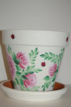 6'' or 8'' Hand Painted clay flower pot Roses by MountBlossom