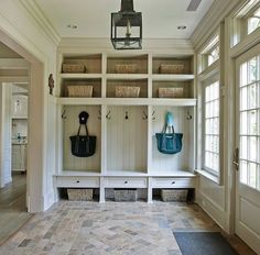 mudroom hooks and storage. built-ins