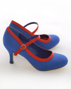 """Blue 3"""" Heel 50's Style Mary Jane Shoes"""