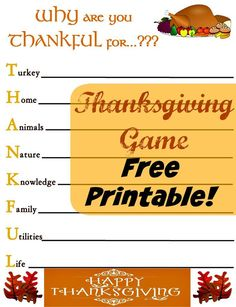 What a fun game to play at the table on Thanksgiving!!  A great way to start…