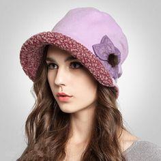 Winter flower bucket hat for women fleece winter hats