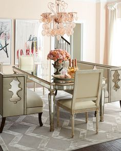 Mirrored dining table for the dining room pinterest dining john richard collection eliza 96l antiqued mirrored dining table watchthetrailerfo