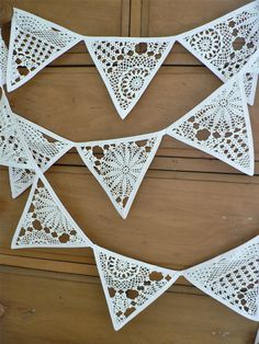 Items similar to Crochet Bunting Garland Banner White Christmas Wedding Pretty Home Decor on Etsy Doily Bunting, Crochet Bunting, Bunting Garland, Buntings, Christmas Bunting, White Christmas, Crochet Christmas, Christmas Wedding, Vintage Crafts