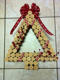 Decorative Christmas Wine Cork Wreath by kreationsbykia on Etsy, $24.99