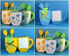 Great idea for Mother's Day. The stamp would be difficult to replicate but students could paint a design (monochromatic--to match cup and floral color choice) on the front of the cup. Kids Crafts, Diy And Crafts, Arts And Crafts, Classroom Art Projects, Paper Artwork, Mothers Day Crafts, Spring Crafts, Craft Videos, Diy Cards