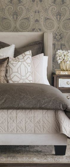 You will find joy getting to your bed every night. The smooth sateen components and velvet soft coverlet will have your dreams on clouds. Added glamour with beads, nailheads, and velvet trims to have you wondering how you ever lived without this duvet cover. #bedding #luxurybedding #designerbedding #bedroomideas #decoratingideas #masterbedroom #duvetcovers #comforters #luxe #glamorous Bedding And Bath, Glamourous Bedroom, Bed Design, Luxury Homes Interior, Luxury Bedding Sets, Bed, Luxury Bedding, Home Interior Design, Bedding Brands