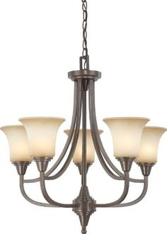 Nuvo Lighting 60/4166 Five Light Surrey Chandelier with Auburn Beige Glass, Vintage Bronze by Nuvo. $198.67. From the Manufacturer                Crossing the boundaries between traditional and contemporary design, this five light chandelier finished in Vintage Bronze with auburn beige glass finds itself at home in many styles.                                    Product Description                Shade Included: TRUE.. Save 67% Off!