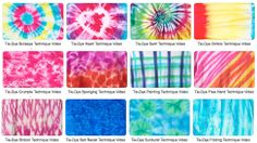 We have 12 cool videos on our page showing you how to do these awesome tie dye techniques. Check them out! http://www.ilovetocreate.com/Tie-Dye