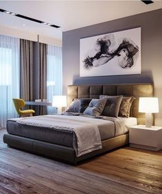 Home Interior Art Take a look at some contemporary bedroom design inspirations! Interior Art Take a look at some contemporary bedroom design inspirat Bedroom Bed Design, Modern Bedroom Design, Contemporary Bedroom, Home Bedroom, Interior Design Living Room, Bedroom Decor, Bedroom Ideas, Bedroom Designs, Bedroom Ceiling Designs