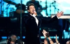 Robin Thicke performs on the 56th Annual GRAMMY Awards on Jan. 26 in Los Angeles