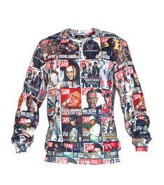 DOUBLE NEEDLE Crew fleece sweatshirt Long sleeves All-over rappers print Crew neck with ribbed collar Soft inner fleece for comfort
