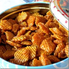 My favorite Chex Mix EVER!!!    Caramel Crispix: 2 small boxes of Crispix Cereal, 2 cups of butter, 2 cups of brown sugar, ½ cup Light Karo syrup, ½ tsp Vanilla, ½ tsp Baking Soda. Melt butter in a sauce pan. Add brown sugar and bring to a boil. Add Karo syrup, vanilla and baking soda. I put the cereal in a large bowl then pour mixture over the cereal. Yum!