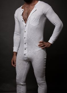 """Our classic drop shoulder """"Longsie"""", in long sleeve contoured in the right spots to give you that lift! Long John Underwear, White Underwear, Vintage Underwear, Mens Pjs, Mens Long Johns, Union Suit, Hipster, Lingerie For Men, Sexy Men"""