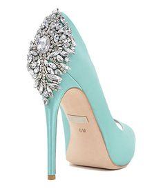 Kiara Embellished Peep-Toe Pump Evening Shoe by Badgley Mischka Tiffany Blue Shoes, Azul Tiffany, Tiffany Blue Dress, Blue Wedding Shoes, Bridal Shoes, Design Bleu, Embellished Shoes, Decorated Shoes, Blue Heels