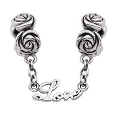 """Persona®+Sterling+Silver+Oxidized+Roses+with+""""Love""""+Chain+Double+Bead"""