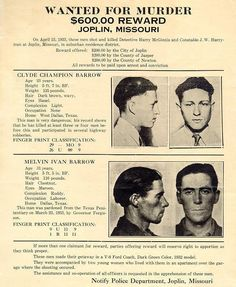 """Buck and Clyde Wanted poster. """"Buck"""" {Marvin Ivan Barrow} had just been pardoned from the penitentiary on March 23, 1933. He is of slight build being 5' 5"""", weighing 110 lbs."""