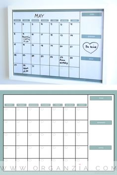 DIY: Monthly Planner + FREE PRINTABLE Make your own dry and erase monthly planner, easy DIY Project.