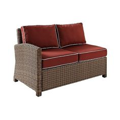 Patio Sectional: Crosley Bradenton Outdoor Wicker Sectional Center... ($639) ❤ liked on Polyvore featuring home, outdoors, patio furniture, sangria, outdoor patio furniture, outdoor wicker patio furniture, outdoor sectional, outdoor wicker furniture and outdoor patio sectional
