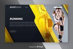 Sport landing page with photo Free Vector Company Brochure Design, Graphic Design Brochure, Web Design, Flat Design, Wallpaper Fix, Gym Banner, Magazine Ideas, School Brochure, Brochure Inspiration