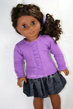 Super cute bubble skirt and purple shirt with ruched detailing