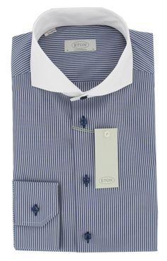 Eton Shirt - Striped with Contrast Collar in Blue - Contemporary Fit - Single Cuff