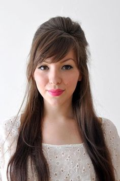 best ideas hairstyles with bangs tutorial Braided Hairstyles Tutorials, Hairstyles With Bangs, Pretty Hairstyles, Wedding Hairstyles, Fine Hairstyles, Classy Hairstyles, Long Hair Tutorials, Straight Hairstyles, Woman Hairstyles