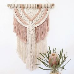 Image of Macrame Wall hanging ~ Blush and Natural