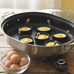 "Make perfectly round eggs or pancakes. To use, spray the ring with cooking oil and place on a seasoned griddle. Carefully pour your batter or crack your eggs in and cook. The non-stick coated rings have wood handles which fold for easy of storage in drawers. Each measures 4"" (10cm) Wood handle stays cool while cooking and folds flat to store. Each ring holds 1/4 cup batter or 1 raw egg. Please allow 3-7 days for delivery."