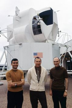 LIFE image showing the original crew of Fred Haise, Jim Lovell and Ken Mattingly at the Manned Spacecraft Center in Houston.