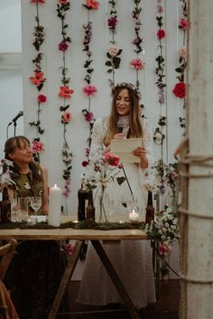 Bride giving a speech. A 1970's Dress for a Vintage, Bohemian and Nature Inspired, Magical Forest Wedding