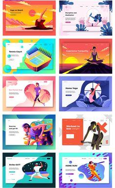 Landing page templates - Banner - Portfolio Webdesign, Webdesign Layouts, Bg Design, Layout Design, Web Banner Design, Modern Design, Web Design Tutorial, Webdesign Inspiration, Website Illustration