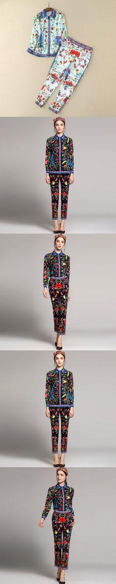 OLN Women Sets Shirt Blouses+pants Suits Runway Print Fashion Black/white Luxury Female Two-pieces Designer 2/pcs Wholesale New