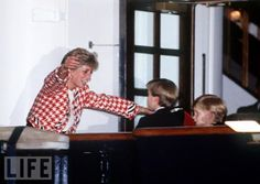 Princess Diana reuniting with her sons on The Royal Yacht Britannica.